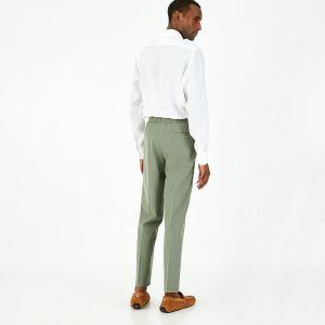 Pantalon gris en toile à taille élastiquée