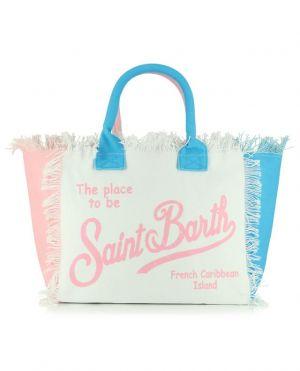 Grand sac cabas en blanc, rose et turquoise Vanity