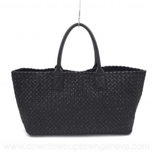 Bottega Veneta PM cabat in intrecciato nappa black with metal tips