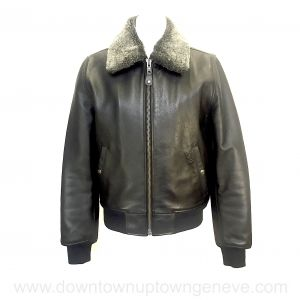 Schott bomber jacket in black leather with removable collar