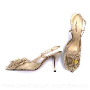 Dolce & Gabbana vintage slingback heels in beige satin with lace front and flower toe