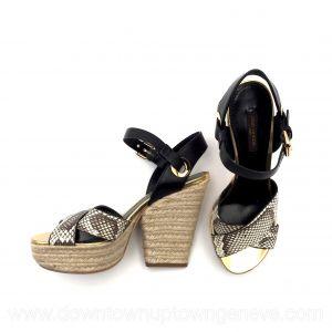 Louis Vuitton platform sandals with python print & espadrille heels
