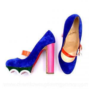 Louboutin mary jane heels in blue suede with pink & gold heels and green platforms