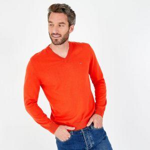 Pull rouge à col V en jersey de coton