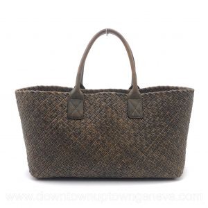 Bottega Veneta PM cabat in intrecciato nappa mottled brown with stitching