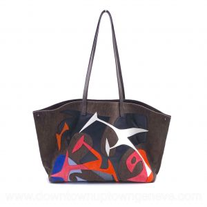 Akris Ai 2018 runway tote bag in brown plush velvet with multicoloured leather design