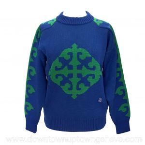 Valentino Sport vintage pull in electric blue and green wool knit