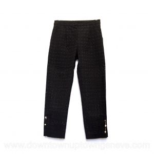 Mother of Pearl capri pants in black lace with faux pearl pin