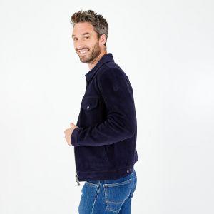 Veste en cuir zippée bleu marine avec poches