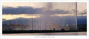 cartes postales panoramiques (lot de 10) - vue du jet d'eau de Genève
