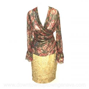 Moschino Couture! vintage evening ensemble - metallic flower top with gold lace skirt