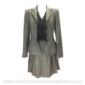 Dior 5 piece suit (pants / skirt) in grey Glen plaid wool with lace trim, halter neck top in lace and scarf