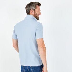 Polo slim fit bleu ciel en piqué de coton délavé