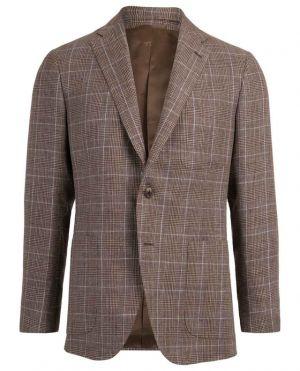 Blazer à carreaux en lin et laine