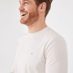 T-shirt blanc à manches longues en coton pima uni