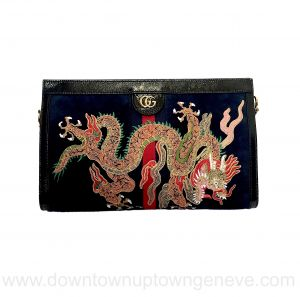 Gucci Ophidia MM dragon bag in midnight blue suede and leather