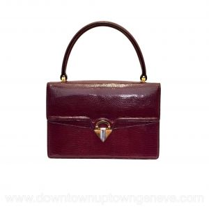 Gucci 1960s vintage bag in burgundy lizard