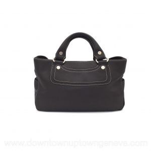 Céline Boogie vintage bag in brown leather with white stitch