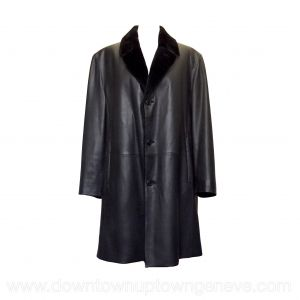 Smalto coat in black leather with fur lining