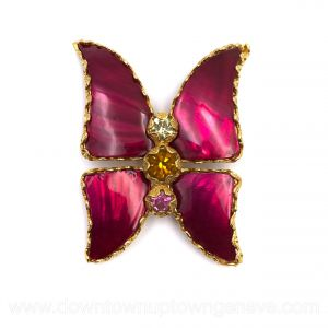 YSL Rive Gauche runway brooch butterfly in burgundy abalone & goldtone metal & crystals