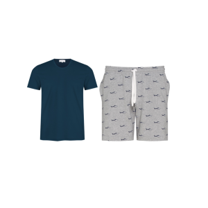 Ensemble tee-shirt et short requins en coton et lyocell pour homme