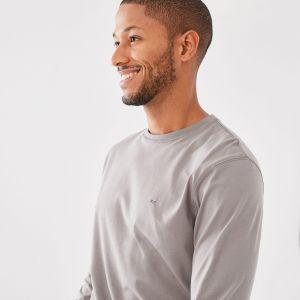 T-shirt gris à manches longues en coton pima uni