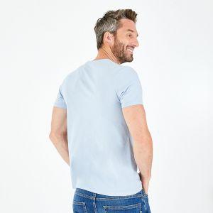 T-shirt slim fit bleu ciel en coton flammé imprimé