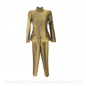 Dior vintage pant suit in gold silk with navy leaf embroidery