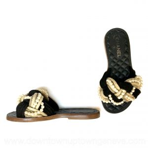 Chanel Cuba slides with raffia rope and faux pearls