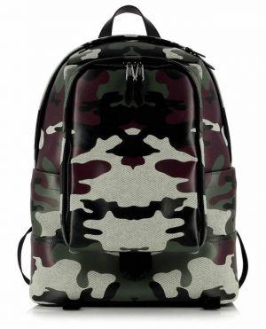 Sac à dos en toile enduite motif camouflage Jack