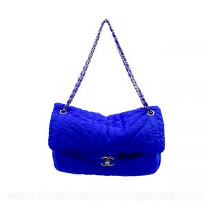 Chanel 2012 GM flap bag in electric blue nylon