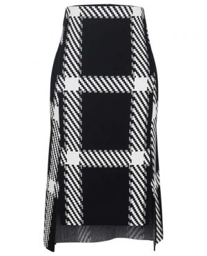 Jupe trapèze en viscose stretch à carreaux
