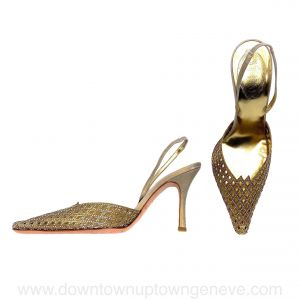 René Caovilla vintage slingback heels in metallic gold suede with gold crystal venetian front