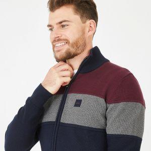 Cardigan marine en jersey de coton  tricolore