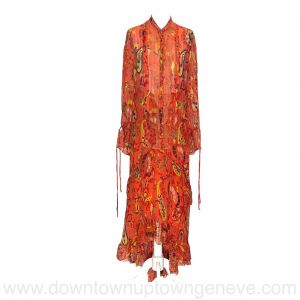 Etro shirt and skirt set in orange crepon silk with paisley print