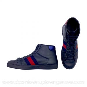 Gucci Ace high top sneakers in black leather with bee embroidery