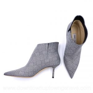 Jimmy Choo Marinda boots with heels in grey silver metallic Prince of Stars fabric