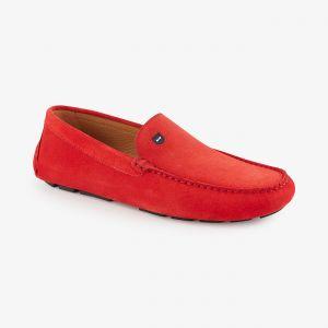 Mocassins rouges en cuir velours