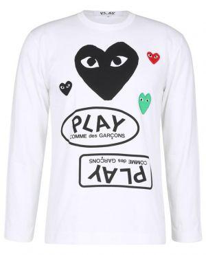 T-shirt à manches longues imprimé coeur et brodé patch coeur