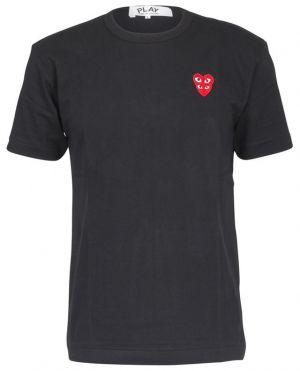 T-shirt à manches courtes patch double coeur rouge