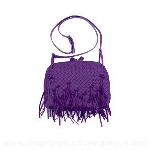 Bottega veneta mini cross-body bag in purple woven leather with fringe