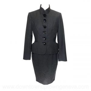 Dior Couture vintage skirt-suit in dark grey wool