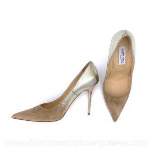 Jimmy Choo heels in gold leather & beige suede