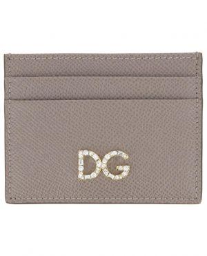 Porte-cartes en cuir Dauphine DG Logo Strass