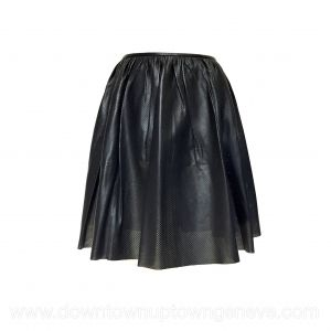 Maison Ullens mini-skirt in navy blue perforated leather
