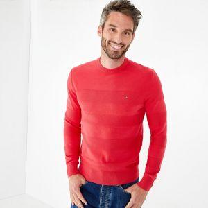Pull rouge en jersey de coton à rayures texturées