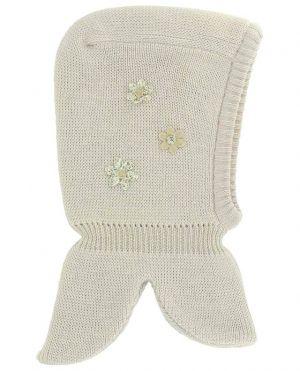 Cagoule tricotée en laine vierge appliqué florale