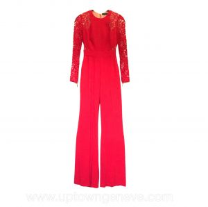 Elie Saab jumpsuit in red with Alenon lace sleeves