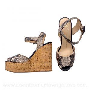 Giuseppe Zanotti wedge sandals in snake-print and cork