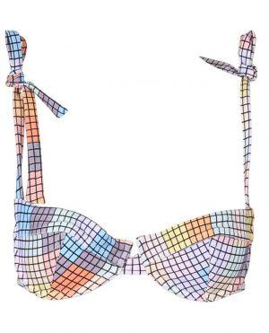 Haut de bikini imprimé carrés multicolores